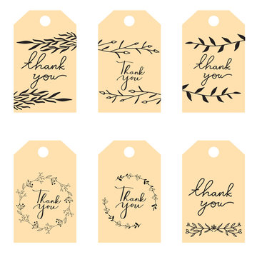 set of vintage wedding label tags