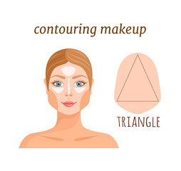 Contouring guide for a triangular face. Makeup applying rules. Vector illustration.