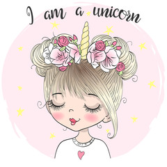 Hand drawn beautiful cute little unicorn girl with wreath on her head. Vector illustration.