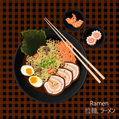Flat lay vector illustration of japanese soup Ramen (拉麺, ラーメン) and its ingredients variety