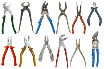 collection of twelve different pliers, isolated on white