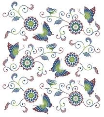 蝶々と花の和風模様イラスト