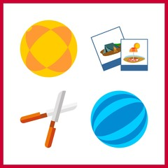 4 hobby icon. Vector illustration hobby set. photography and ball icons for hobby works