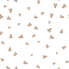 Christmas deer on a white background seamless pattern