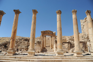 The ruined city of Jerash is Jordan's largest and most interesting Roman site, and a major tourist drawcard. Its imposing ceremonial gates, colonnaded avenues, temples and theatres