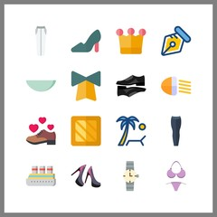 16 luxury icon. Vector illustration luxury set. bikini and black shoes icons for luxury works
