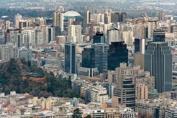 View of buildings at downtown around Santa Lucia hill, Santiago de Chile