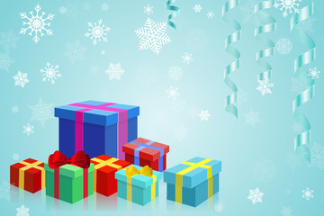 Christmas gifts on blue background