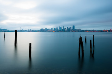 Puget Sound and city skyline, Seattle, Washington State, USA