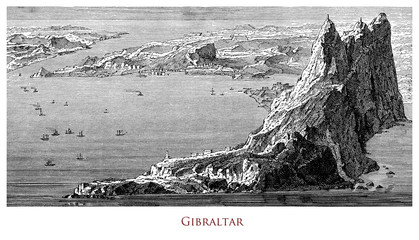 Engraving depicting the Rock and the strait of Gibraltar- UK