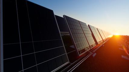 Solar Panels in Fading Light 3d rendering