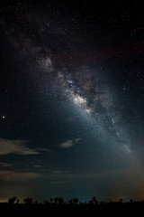 night sky milky way and star on dark background.Universe filled with stars, nebula and galaxy with noise and grain.Photo by long exposure and select white balance.