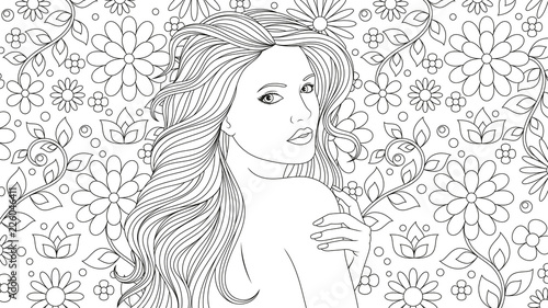 Beautiful Girl Coloring Pages Stock Image And Royalty Free