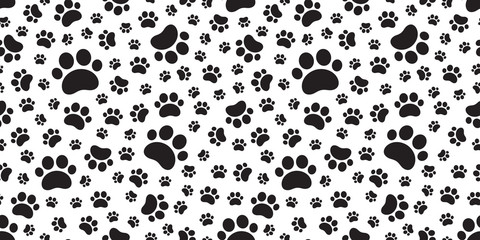 Dog Paw seamless pattern vector cat footprint tile background repeat wallpaper scarf isolated cartoon illustration doodle
