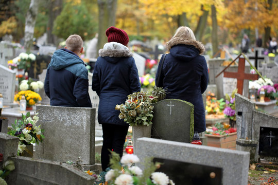 People at the Polish traditional cemetery on the feast of all saints day at 1st November
