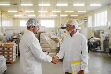 Picture of two male managers in sterile clothes shaking hands in food factory. Working together on big project.