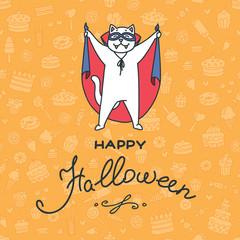Happy Halloween. Illustration of happy cat in halloween costume on orange background of sweets. Vector 8 EPS.