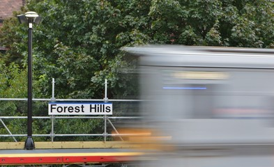 Forest Hills New York Sign at LIRR Train Station