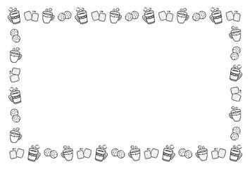マグカップとお菓子のフレーム 手描き 白黒