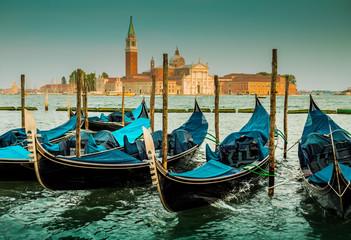 Italy, Venice landscape with gondolas - blue tones