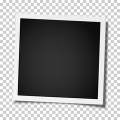 Retro realistic square photo frame placed on transparent background. Vector template photo design.