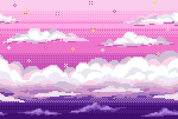 Vector pixel background with evening sky and clouds