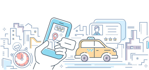 Taxi mobile app - colorful line design style vector illustration