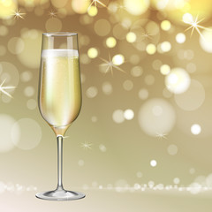 Realistic vector illustration of champagne glass on blurred holiday golden sparkle background