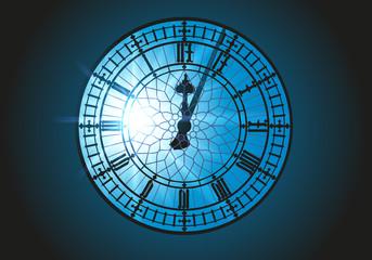 Au sommet de la tour de Londres, l'horloge Big Ben est vue de l'intérieur en contre jour, face au soleil