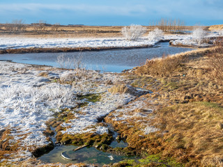 Scene in Deildartunguhver hot spring, Iceland