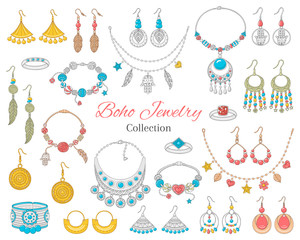 Fashionable boho jewelry accessories collection, vector illustration.
