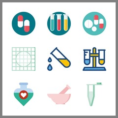 pharmacy icon. test tubes and potion vector icons in pharmacy set. Use this illustration for pharmacy works.
