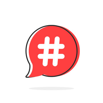 red simple thin line hashtag icon