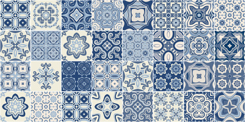 Traditional ornate portuguese decorative tiles azulejos. Wall mural