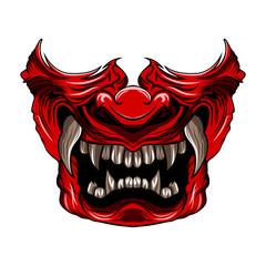 red samurai mask vector illustration isolated