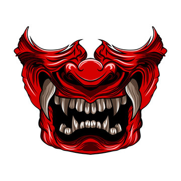 red samurai mask vector illustration isolated
