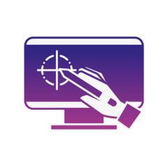 hand holding digital pen computer graphic design
