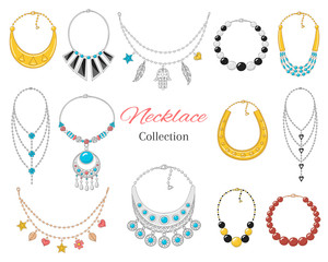 Women's  fashionable necklace collection, vector illustration.