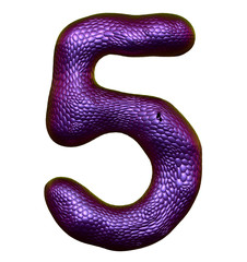 Number 5 five made of natural purple snake skin texture isolated on white
