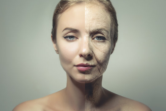 comparative portrait of woman face with old and young skin