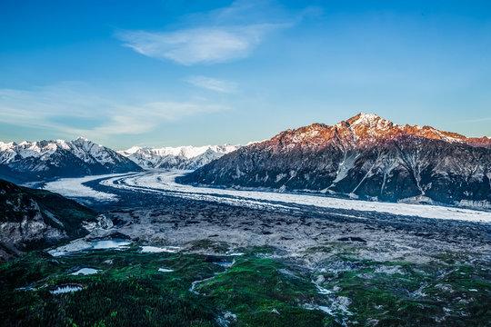 Sunrise light on Mt. Wickersham and the Matanuska Glacier in the Chugach Mountains of Alaska