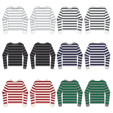 Vector template for Striped Long Sleeve Tees