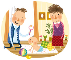 parents playing with infant baby