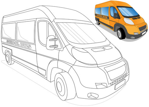 School bus. Coloring. Isolated on white background. Vector illustration.