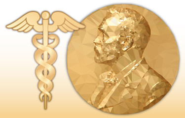 Nobel medicine award, gold polygonal medal and medicine symbol