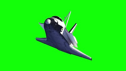 Fotomurales - Space Shuttle And Module Of International Space Station. Green Screen. 3D Animation.