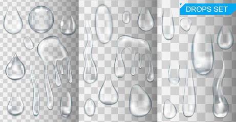 Realistic shining water drops and drips on transparent background vector illustration