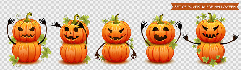 Set of pumpkins for Halloween. Vector illustration