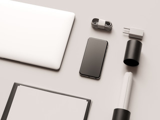 Branding Mock Up. Office supplies, Gadgets. 3D illustration