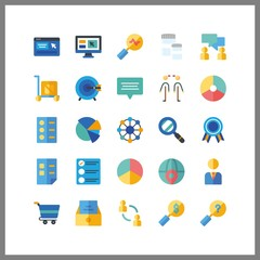 25 marketing icon. Vector illustration marketing set. list and worldwide icons for marketing works